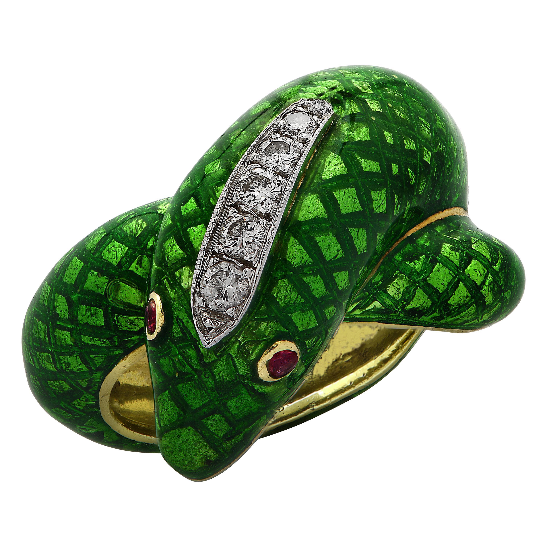 Diamond and Enamel Snake Ring