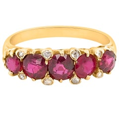 Diamond and Five Ruby Gold Ring