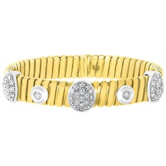 Diamond and Gold 43 Grams Cuff Bangle /Bracelet in 18 Karat Yellow Gold