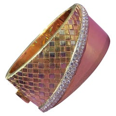 Diamond and Gold Bangle Cuff Bracelet