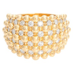 Diamond and Gold Bead 18 Karat Yellow Gold Ring