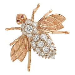 Diamond and Gold Bee Brooch