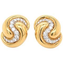 Diamond and Gold Bombé Earclips