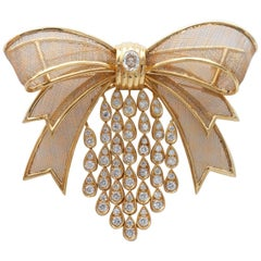 Diamond and Gold Bow Brooch or Hair Barette
