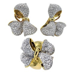 Diamond and Gold Bow Earrings and Ring Set