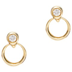 Diamond and Gold Door Knocker Stud Earrings