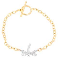 Diamond and Gold Dragonfly Bracelet