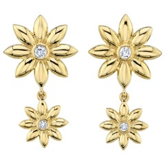 Diamond and Gold Flower Drop Earrings