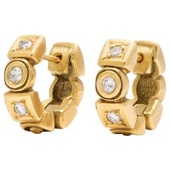 Diamond and Gold Huggie Earrings