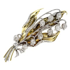 Diamond and Gold Lily of the Valley Brooch, Circa 1940