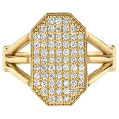 Diamond and Gold Shield Ring