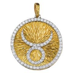 David Webb Diamond and Gold Taurus Pendant