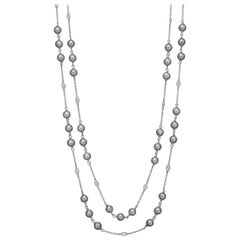 Diamond and Gray Pearl Long Chain Necklace