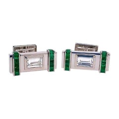 Diamond and Green Emerald Cufflinks