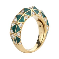 Diamond and Green Enamel Stack Ring