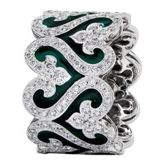 Diamond and Green Enamel Wide Band Ring