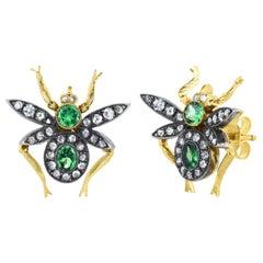 Diamond and Green Garnet, Gold Fly Stud Earrings