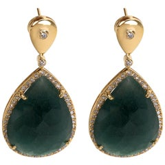Diamond and Green Opal Drop Earring in 18 Karat Yellow Gold 1.17 Carat