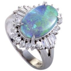 Diamond and Green Opal Platinum Ring