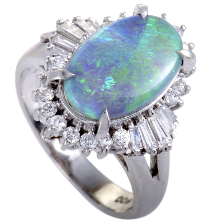 Diamond and Green Opal Platinum Ring