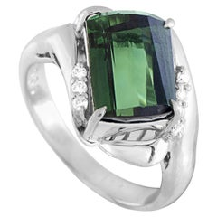 Diamond and Green Tourmaline Platinum Ring
