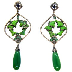 Diamond and Green Turquoise Dolphin Chandelier 18 Karat Gold and Silver Earrings