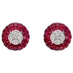 Diamond and Invisibly-Set Ruby Domed Stud Earrings
