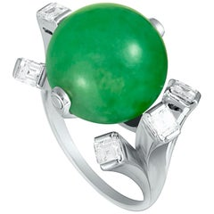 Diamond and Jade Ball Platinum Ring