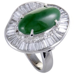 Diamond and Jade Cabochon Platinum Ring