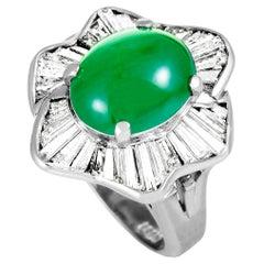 Diamond and Jade Platinum Oval Ring