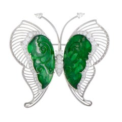 Diamond and Jade White Gold Large Butterfly Brooch