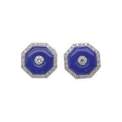 Diamond and Lapis Cufflinks in 18 Karat Gold