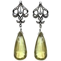 Diamond and Lemon Topaz Drop Earrings in 18 Karat Blackened Gold