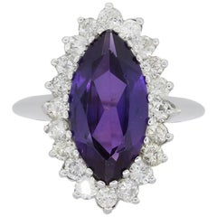 Diamond and Marquise Shape Amethyst Cocktail Ring