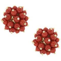 Diamond and Mediterranean Coral Bead Cluster Earrings