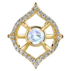 Diamond and Moonstone Gold Ring