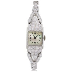 Diamond and Mother of Pearl Dial Antique Wristwatch