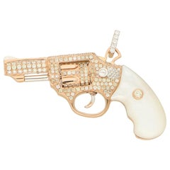 Diamond and Mother of Pearl Jeweled Gun Pendant in Rose Gold