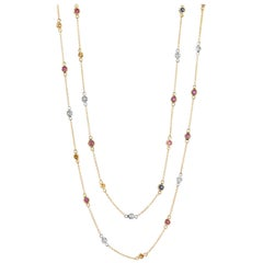 Diamond and Multi Color Gemstone Necklace 14k Yellow Gold