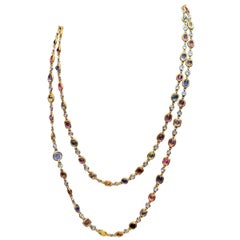 Diamond and Multi-Color Sapphire Long Chain Necklace