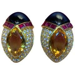 Diamond and Multi Gem Citrine Earrings