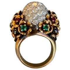 Diamond and Multi Gem Cocktail Dome Ring