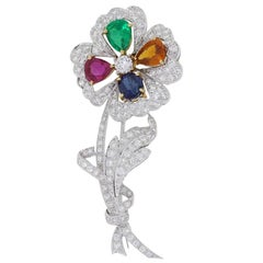 Diamond and Multi Gemstone Flower Brooch Pin