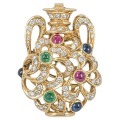 Diamond and Multi-Gemstone Sapphire, Ruby Yellow Gold Vase Pendant