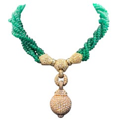 Diamond and Multi Strand Emerald Bead Necklace