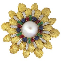 Diamond and Multistone Big Flower Pearl Pin