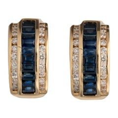 Diamond and Natural Blue Sapphire Gold Earring