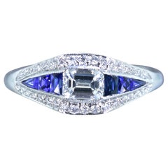 Diamond and Natural Fancy Cut Fine Sapphire and Platinum Contemporary Ring