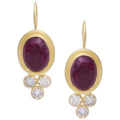 Diamond and Natural Ruby Cabochon Earring Handcrafted in 18 Karat Yellow Gold