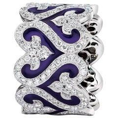 Diamond and Navy Enamel Wide Band Ring